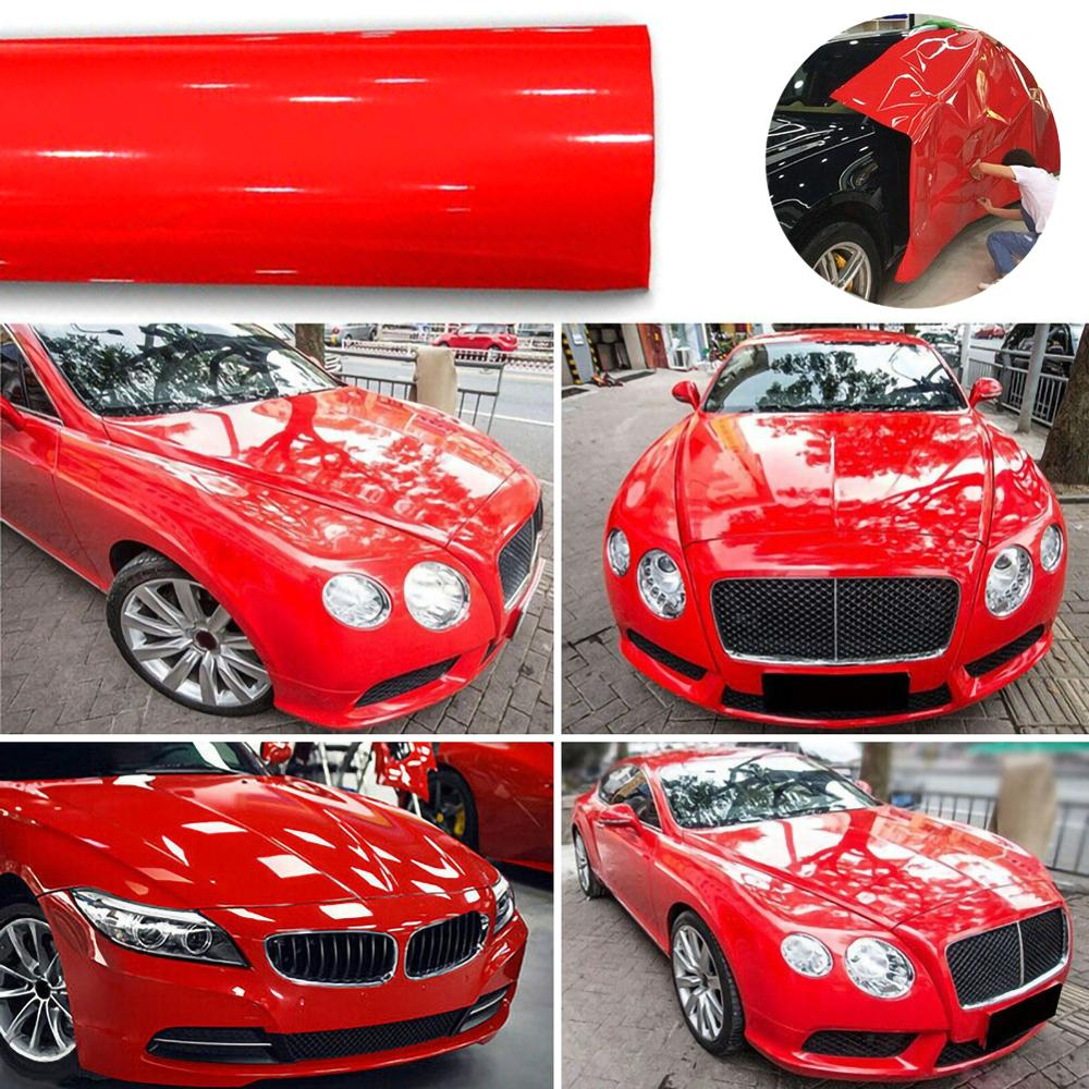 1Roll Super Gloss Red Vinyl Film Car Wraps Auto Glossy Red Foil Car Wrap Film Vehicle Sticker 30 X 152cm image