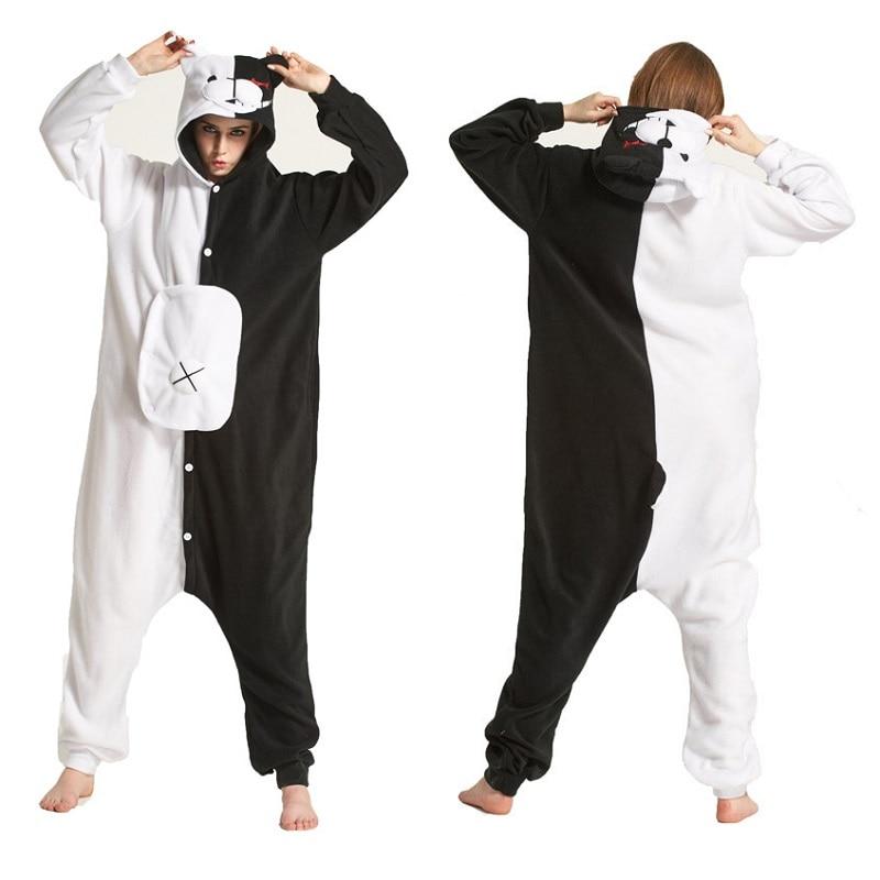 Kigurumi Bear Animal Monokuma Long Sleeve Hooded Onsie Kegurumi Men Women Onesies For Adults Whole Animal Pajamas Onepiece