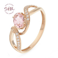 SKM Brand designer morganite rings 14k rose gold trendy luxury Engagement wedding rings designer Luxury Fine Jewelry