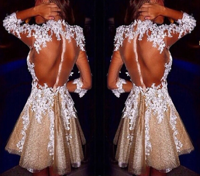 New Fashion See Through Short Champagne Organza Prom Dresses 2015 With White Lace Appliques Sexy Backless Girls Party Gown