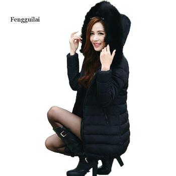 Women Winter Coats Medium-long Fur Collar Thick Solid Hooded Down Cotton Padded Warm Coats Plus Size XL-7XL Parkas Jacket
