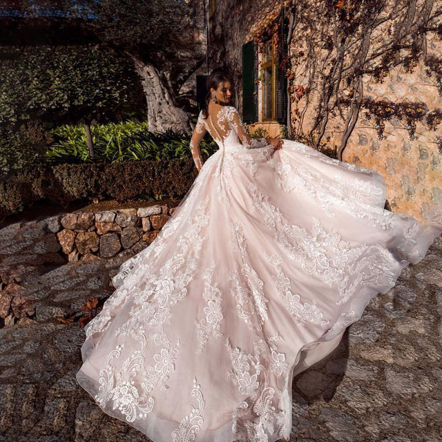 Luxury Pink A Line Wedding Dresses V neck Lace Appliques Illusion Long Sleeves Women Wedding Dress Plus Size Bridal Gown 3