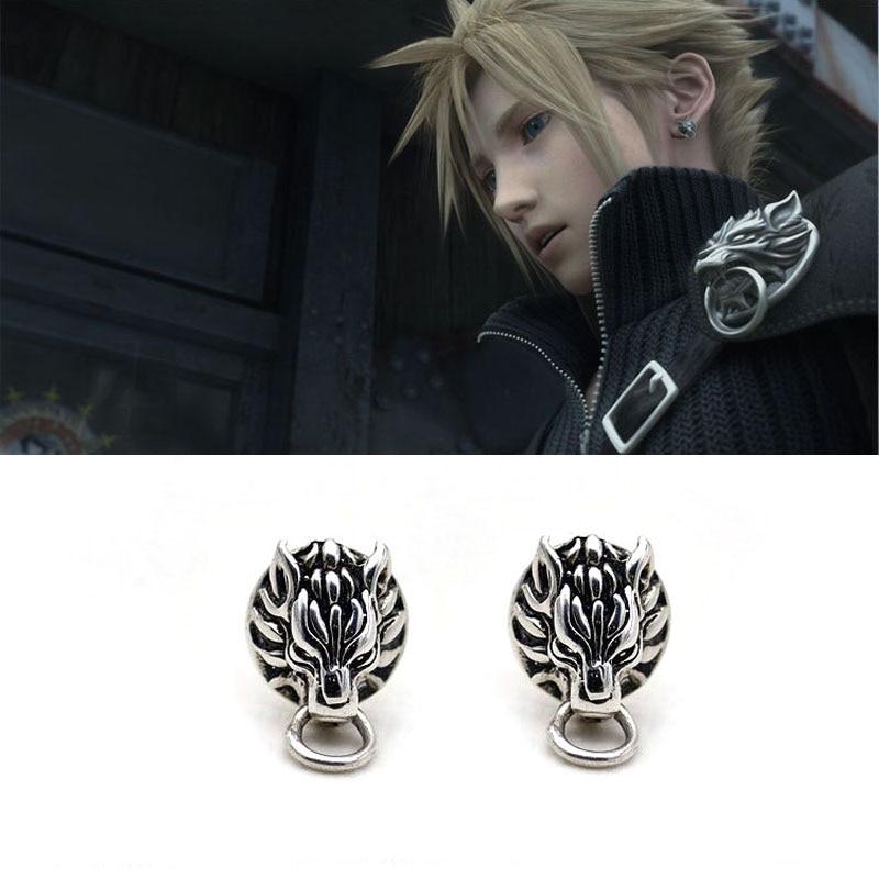Hot Game Final Fantasy Cloud Strife Wolf Stud Earrings For Men Women