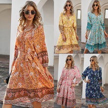 WANYUCL European and American women's bohemian holiday style printed dress 7-point sleeve A-line skirt women