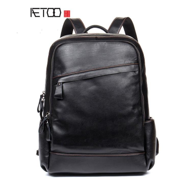 AETOO High-grade leather shoulder bag business travel leather backpack computer men and women shoulder bag