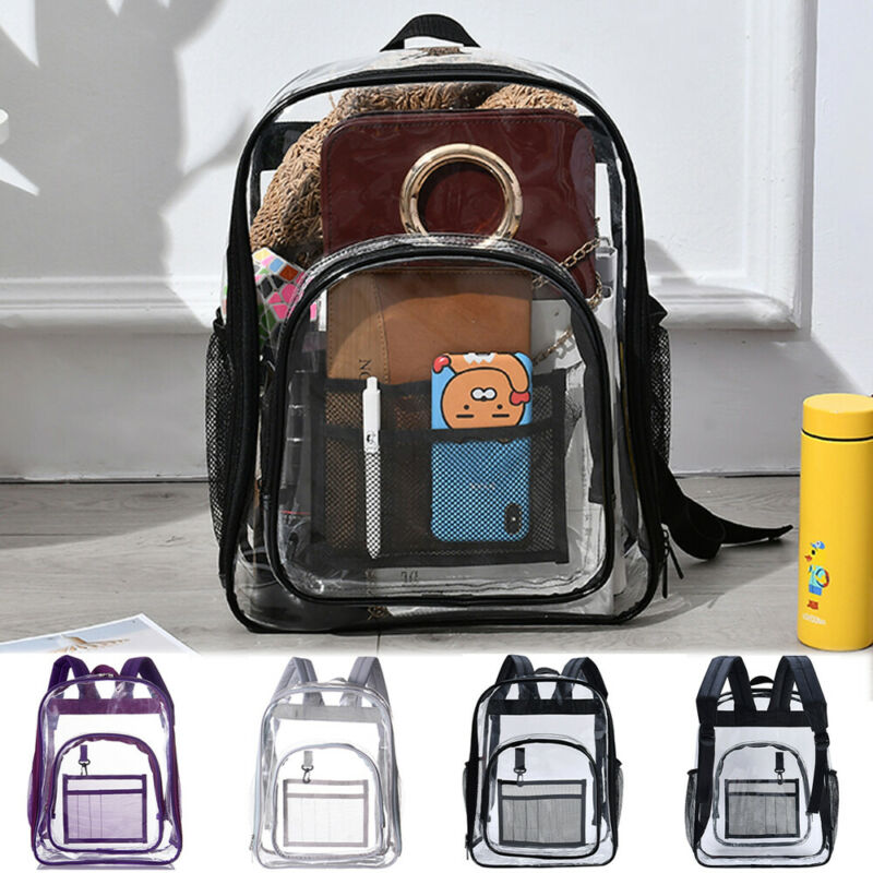 Large Clear Transparent Backpack Stadium Security School Book Bag Travel Black Women Backpack Purse For Girl High Quality Female