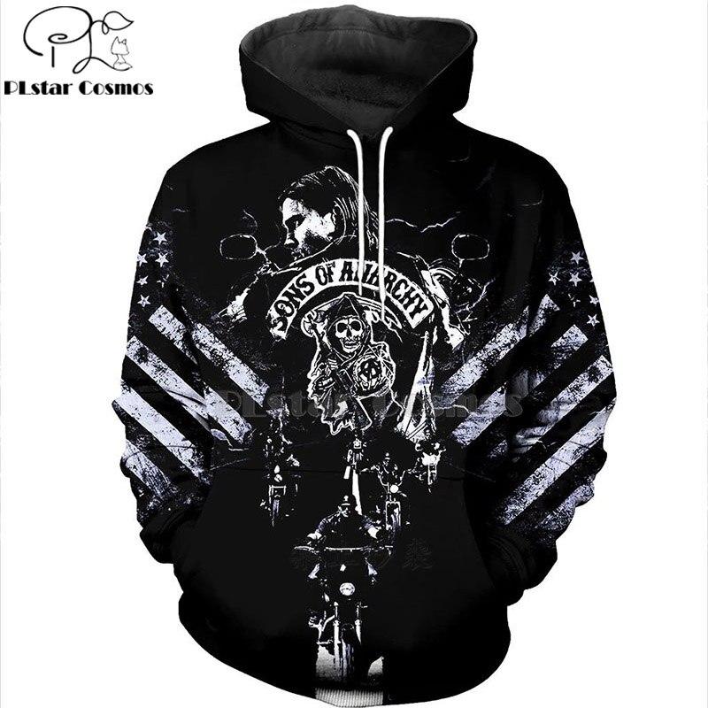 PLstar Cosmos Black SON OF ANARCHY  3D Hoodies/sweatshirts/shirt Print Autumn Winter Men/women's Slim Long Sleeve Streetwear