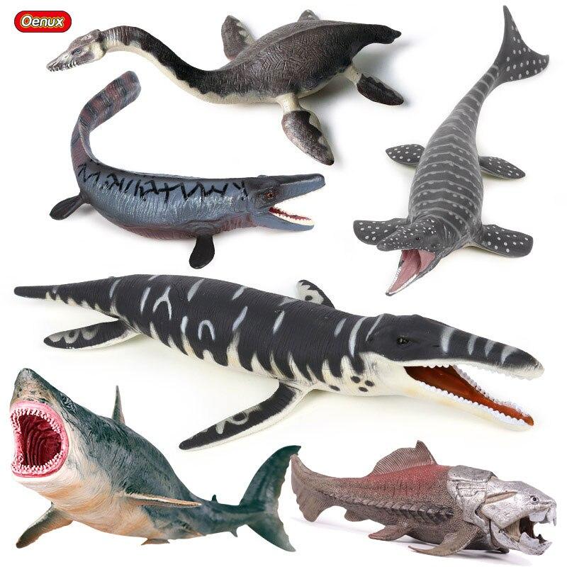 Oenux Prehistoric Sea Life Animal Megalodon Dunkleosteus Terrelli Fish Action Figure Plesiosaurus Dinosaur Model Collection Toy