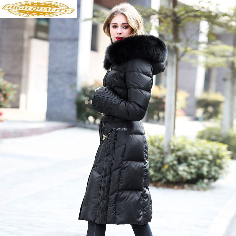 Long Winter Duck Down Jacket Women Hooded Warm Puffer Jacket Real Fox Fur Collar High Quality Korean Women's Jackets 2020 U13357
