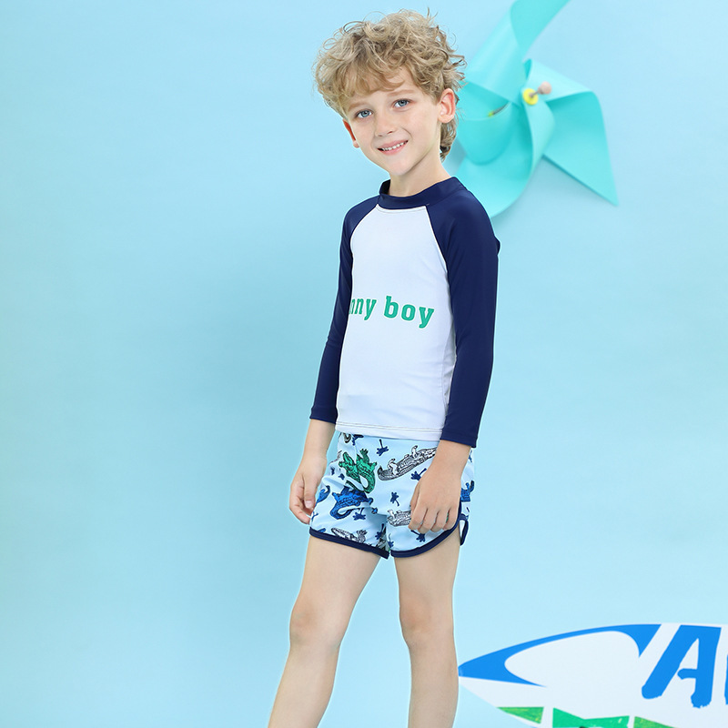 2020 New One-piece Swimsuit For Children Male Baby Long Sleeve Sun-resistant Swimming Snorkeling Jellyfish Clothing Big Boy