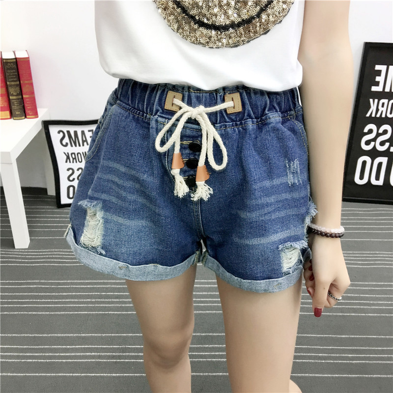 Women Denim Shorts Elastic High Waist Plus Size Fashion Classic Vintage Blue Wide Leg Female Loose Hole Ripped Jeans