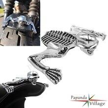 Für Harley Bobber Chopper Scheinwerfer Visier Skeleton Ornament Kotflügel Helm Schädel Dekorative Helm Visier Figur Graph Chrom