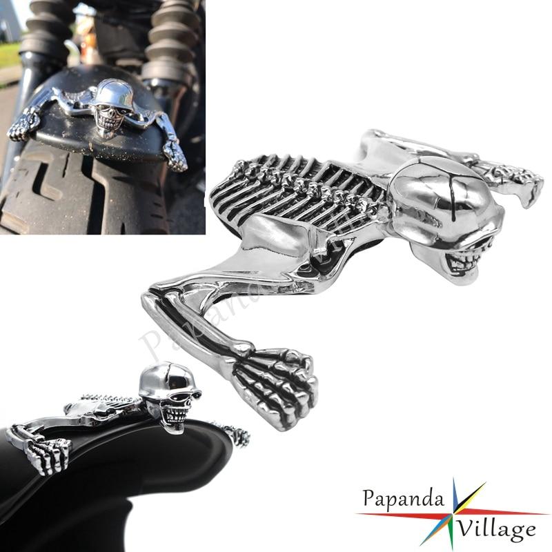 For Harley Bobber Chopper Headlight Visor Skeleton Ornament Mudguard Helmet Skull Decorative Helmet Visor Figure Graph Chrome(China)