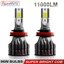 BraveWay LED Headlight Bulb H1 H4 H7 H11 HB3 HB4 9005 9006 Fog LED Headlamp for Motorcycle Turbo LED Bulbs for Car 12V Light Kit(China)
