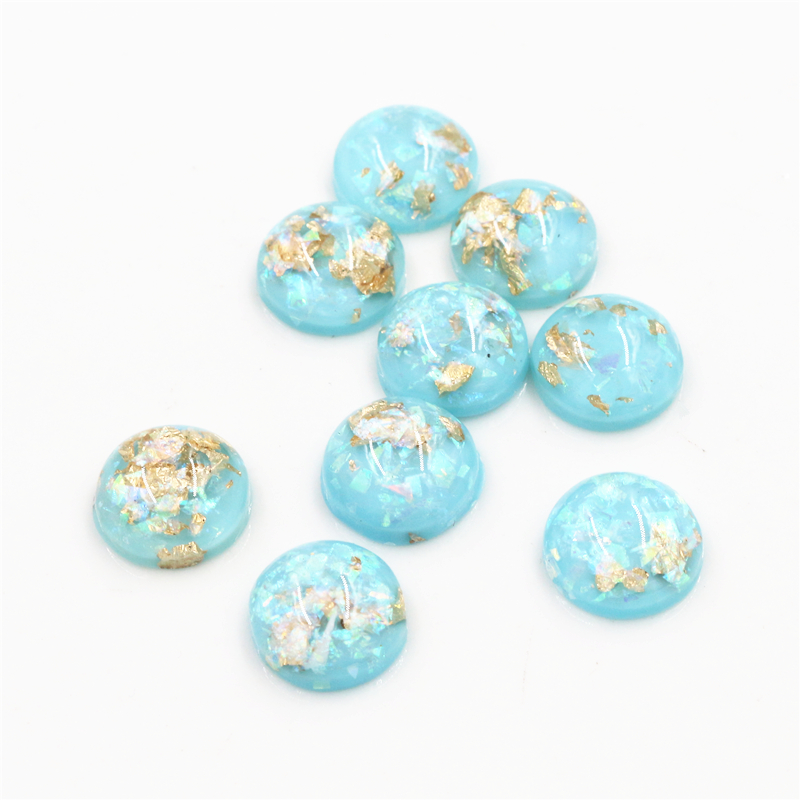 New Fashion 40pcs 12mm Light Sky Blue Colors Built-in Metal Foil Flat Back Resin Cabochons Cameo-Z6-15