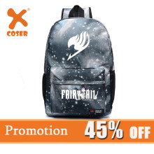 Xcoser Promotion Gray White Fairy Tail Backpack Fairy Tail Magic Guild Logo Unisex Canvas Backpack Starry Sky School Backpack(China)