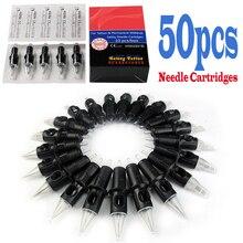 50 cartuchos esterilizados silicone descartáveis da agulha da tatuagem do falcão dos pces para o shader do forro