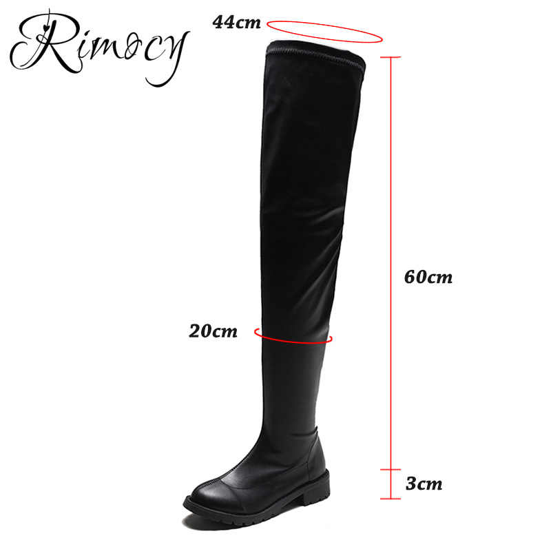 Rimocy PLUS ขนาด 43 ผู้หญิงต้นขาสูงรองเท้า SLIP PU หนังเข่าบูทแฟชั่นหญิงฤดูใบไม้ร่วงฤดูหนาวรองเท้าผู้หญิงสีดำ