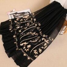 Embroidery scarf muslim hijabs sjaal head shawls cover bandana bufanda islamic paisley viscose linen long scarves