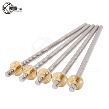 T8 Lead Screw OD 8mm Pitch 2mm Lead 2mm 150mm 200mm 250mm 300mm 330mm 350mm 400mm 500mm With Brass Nut For Reprap 3D Printer image