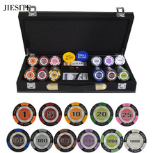 200/300/400/500 TEILE/SATZ Poker Chips Ton Casino Chips Texas Hold'em Weizen Crown Poker Sets Mit PU-Leder Fall/Box/Koffer(China)