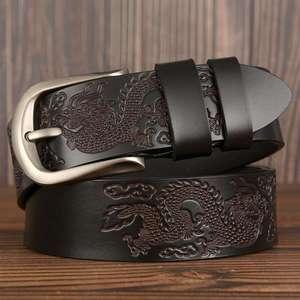 Image 2 - Cinturones de cuero para hombre, ¡oferta! Cinturón de cuero genuino para hombre, Cinturón de piel de vaca de marca, ancho: 3,8 cm, negro, café, naranja