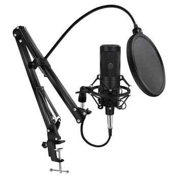 Microfone condensador para computador computador profissional microfone com suporte xlr microfone gravação de estúdio de chating microfone