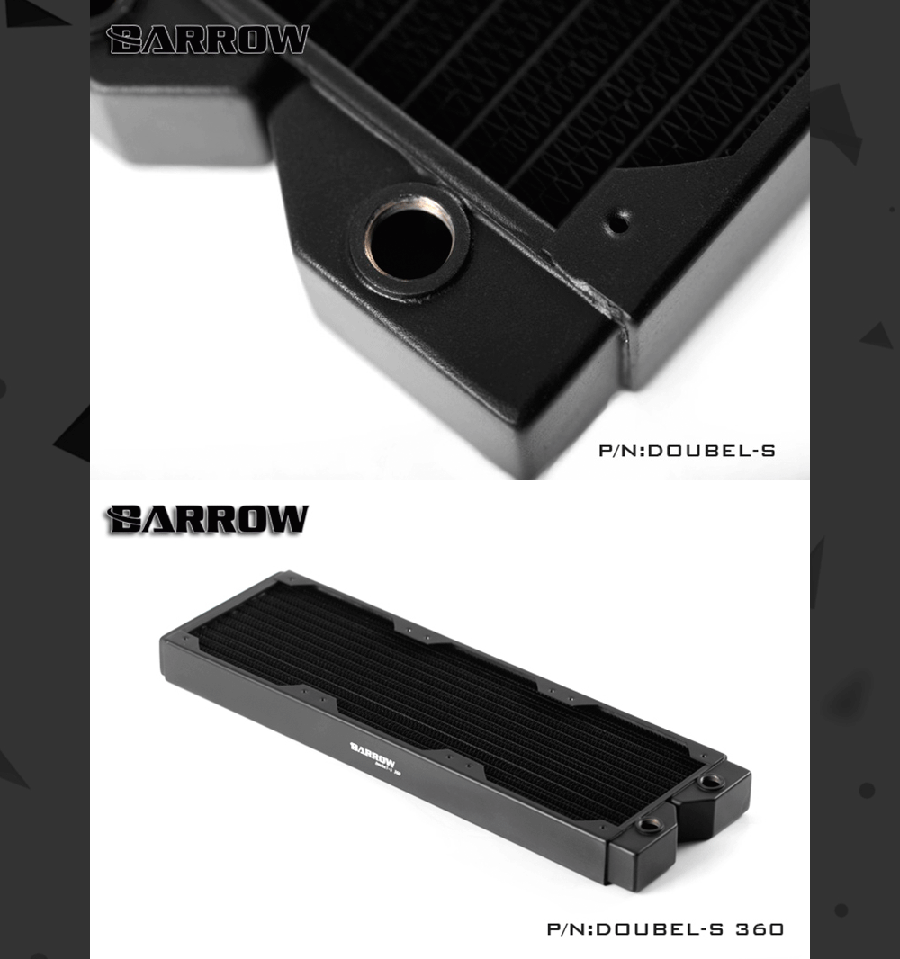 Barrow Doubel-S 360, Double Wave 360mm Radiator, 34mm Thickness, Copper High-density Water Cooler, Suitable For 120mm Fans