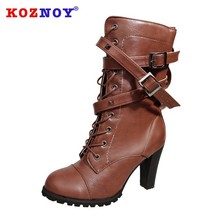 Koznoy Women Boots New Comfortable Side Zipper Dropshipping Rivet Thick Heeled Middle Boot Fashion Breathable High Heeled Boots цены онлайн