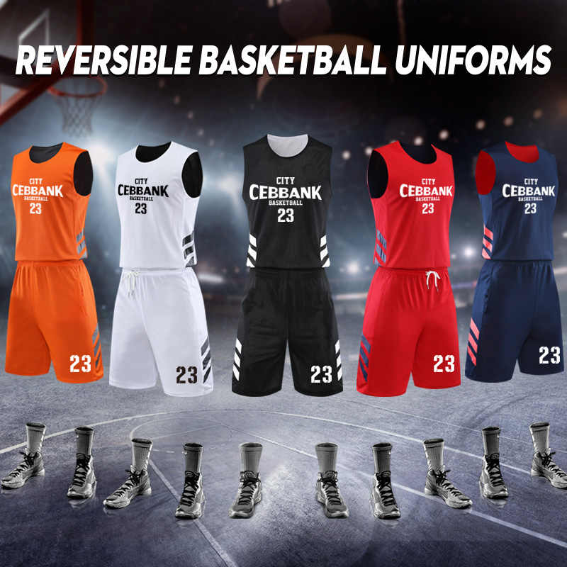 Men Reversible Basketball Jerseys double use USA College Basketball Uniforms  Sets Quick Dry Sleeveless Team Basketball Suits