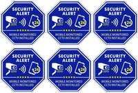 Videovigilancia de seguridad con monitor móvil, pegatinas de CCTV para interior y exterior, 3,3x3,3 pulgadas, 6 uds. Vídeo CCTV
