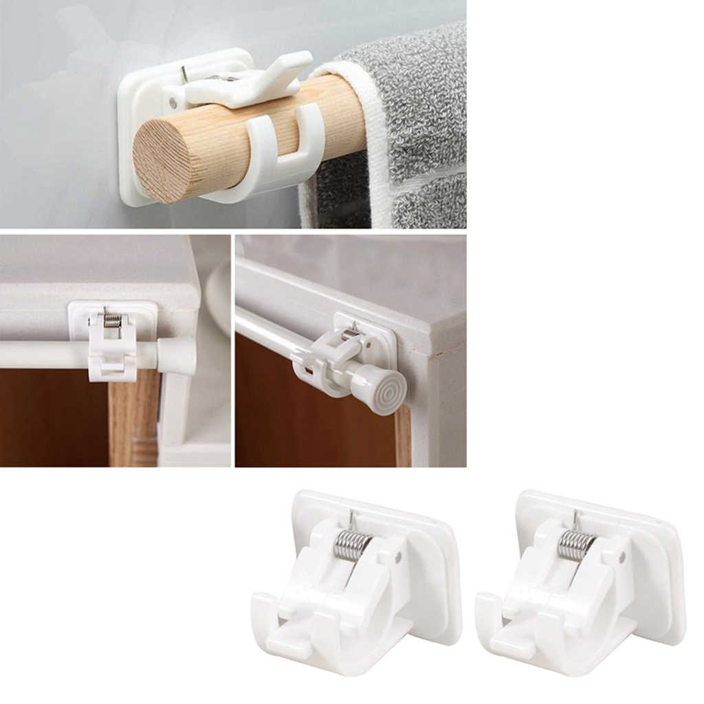 2x curtain rod brackets no drill adjustable curtain rod pole end supports sockets flange for kitchen
