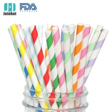 25 Biodegradable Paper Straws  Assorted Rainbow Colors Striped Drinking for Juice birthdays partys