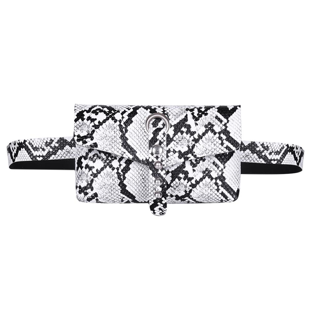 Rivet Snake Print Women Waist Fanny Belt Packs Casual PU Leather Crossbody Shoulder Bag Purse Vintage Fanny Pack Purse Chest Bag