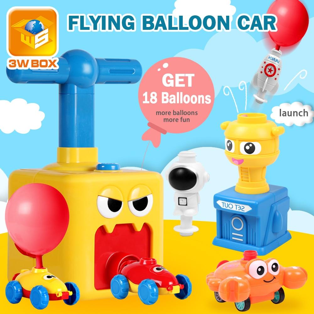 Inertia Balloon Powered Car Toys Aerodynamics Experiment Game Launcher Rocket