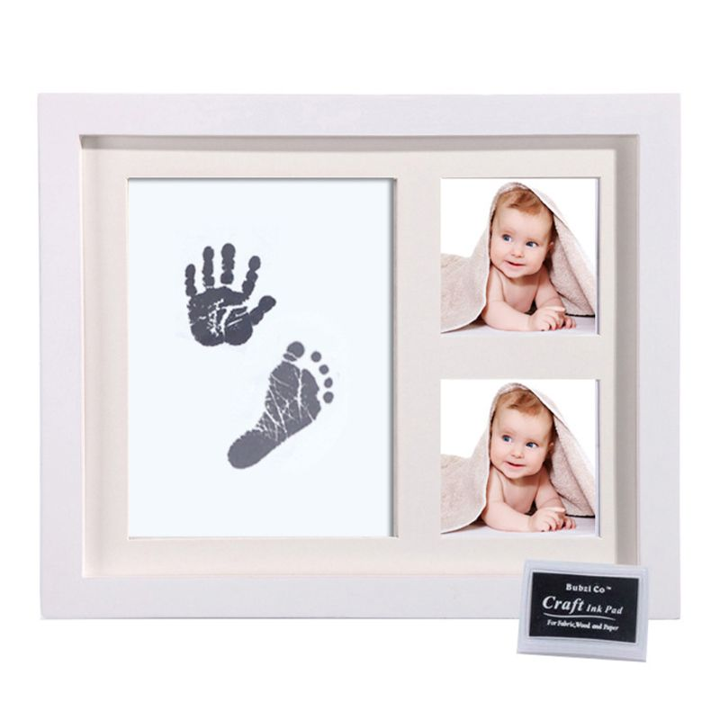 Baby Footprint Kit Handprint Picture Frame With Safe And Non-Toxic Ink Pad Perfect Newborn Keepsakes Girls Boys Shower Gift K4UE