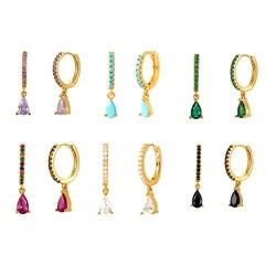 925 Sterling Silver Huggie Hoop Earrings for women Rainbow Black Crystal Zircon Water Drop Hanging Prevent Allergy Earrings