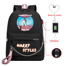 Mochila Harry Styles Backpack Teenager back to School Bag USB Charge Travel Bag Women Zainetto Donna Laptop Backpack Kid Bookbag(China)