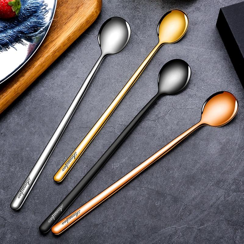 Creative 4PCs 304 Stainless Steel Coffee Spoon Seasoning Ice Cream Dessert Tea Honey Cappuccino Jelly Stirring Scoop Tableware