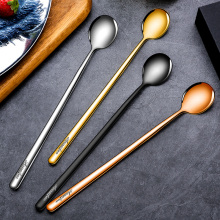 Creative 4PCs 304 Stainless Steel Coffee Spoon Seasoning Ice Cream Dessert Tea Honey Cappuccino Jelly Stirring Scoop Tableware
