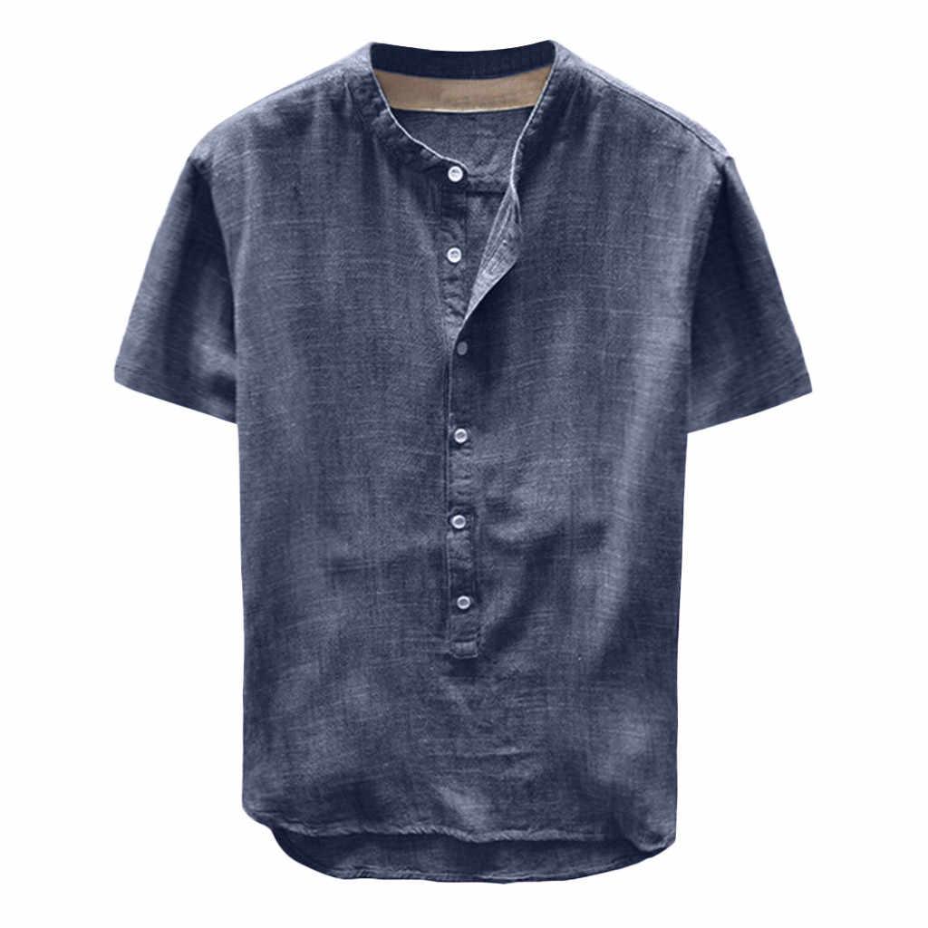 夏男性新スタイルの和室亜麻半袖トップス男性のレトロなコットンリネン 2 ボタン V ネック大サイズ ##7