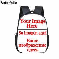 12 Inch Customize Logo / Image / Name Backpack 2-4 Years Old Kids Children School Bags Kindergarten Backpack Baby Toddler Bag