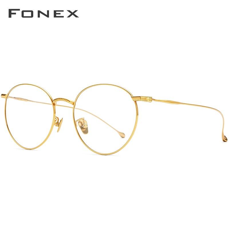 FONEX Pure Titanium Eyeglasses Frames Women 2020 New Vintage Round Eyewear Myopia Optical Retro Prescription Glasses Men 8508