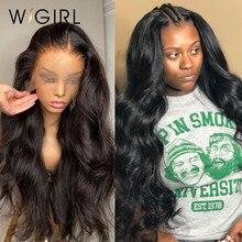 Wigirl onda do corpo 13x4 perucas dianteiras pré arrancadas com o cabelo do bebê cabelo humano brasileiro longo laço frontal perucas para preto