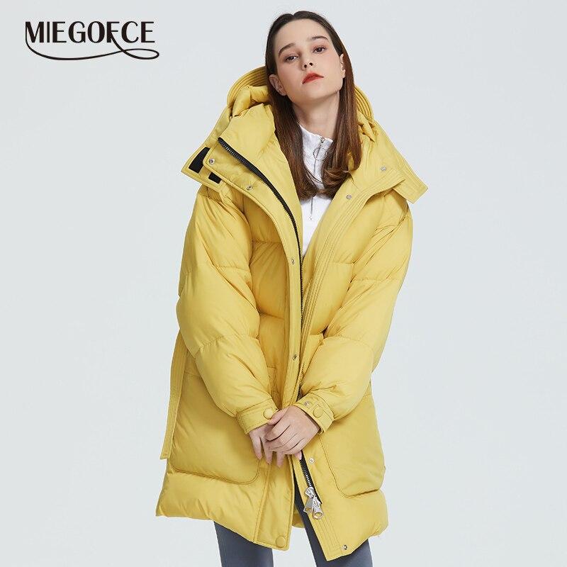 Miegofce 2019 novo design casaco de inverno das mulheres parka isolado corte solto com bolsos remendo casual solto jaqueta gola com capuz
