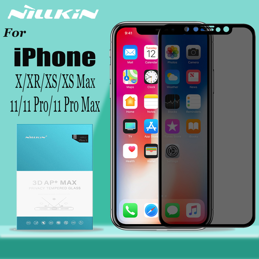 Nillkin Anti Spy Tempered Glass untuk iPhone 11 Pro Max X XR XS MAX Pelindung Skrin Anti Glare Kaca Privasi untuk iPhone 8 7 Plus