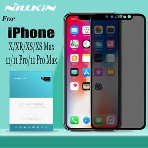 Image 1 - Nillkin anti spy vidro temperado para iphone 11 xr protetor de tela de vidro anti brilho privacidade vidro para iphone 11 pro max x xs max