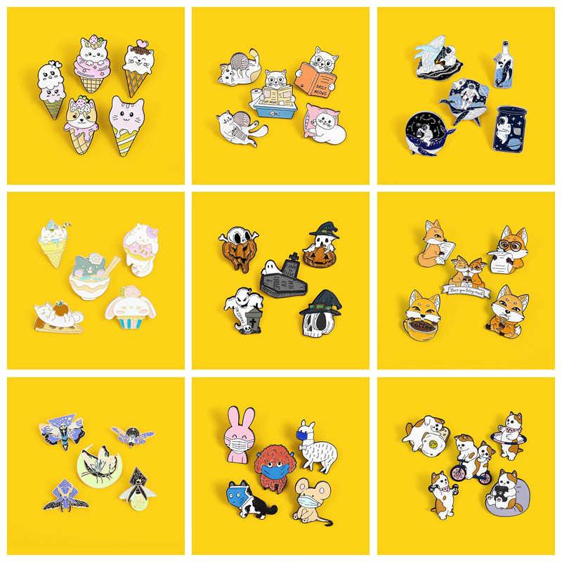 4 ~ 5Pcst Kartun Hewan Enamel Pin Set Cat Rabbit Alpaca, labu Tengkorak Bros Lencana Hadiah Kreatif untuk Anak-anak Kerah Pin Hadiah