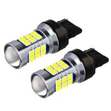 2 шт. T20 7440 W21W WY21W супер яркие 3030 светодиодный автомобильные задние стоп-сигналы лампы указателей поворота автомобильный фонарь заднего хода ...