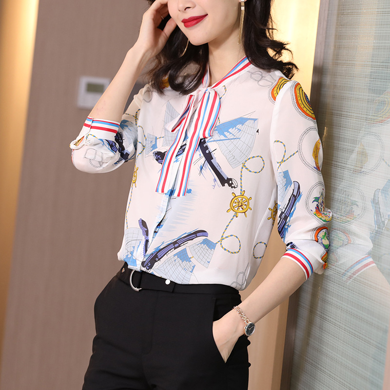 Spring 2020 new printed sailboat high quality silk fashion white women s Shirt Long Sleeve Silk